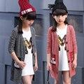 Solta Cardigan para Meninas Camisolas Crianças Outerwear Infantil Outono Malhas de Tricô Casual Revestimento Roupa Dos Desenhos Animados Do Miúdo 2 10 12 14