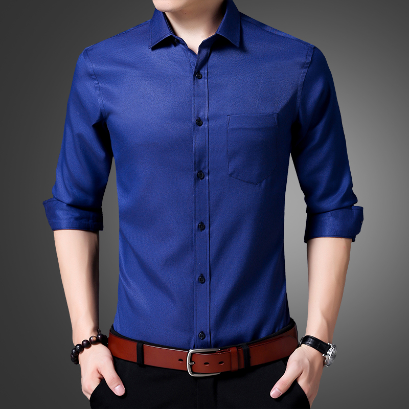 bbb98ff15f8 New 2018 Autumn Cotton Dress Shirts High Quality Mens Casual Shirt Casual  Men Plus Size XXXL Slim Fit Social Shirts-in Casual Shirts from Men s  Clothing ...