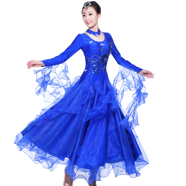Delightful 2017 New Ballroom Dance Dress 6 Color Ballroom Dancing S XXXL Flamenco  Dance Costumes Luxury Vestidos De Festas Free Shipping