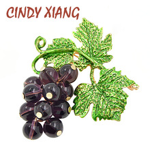 CINDY XIANG Purple Color Crystal Grapes Brooches for Women Fashion Summer Plant Brooch Pin Enamel Jewelry High Quality New 2018