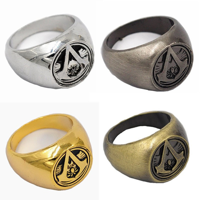 new assassins creed master ring anime cosplay accessories bronze anti silver 4 colour men cosplay