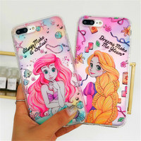100pcs Case For iPhone 7 6 6S Plus Cartoon Relief Cute Mermaid Princess Phone TPU Silicone Cover Back For iPhone X 7 8 Plus