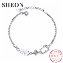 SHEON Authentic 925 sterling silver Small Fish Falls In Love With Cat Cubic Zirconia Bracelet For Women Sterling Silver Jewelry