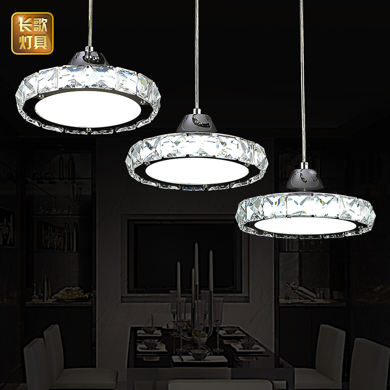 ФОТО LED restaurant chandelier modern minimalist European round pendant lamp three creative head table lamp crystal restaurant dining