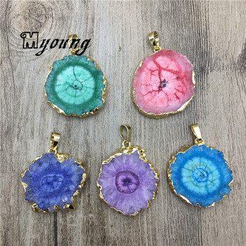 Sun Flower Shape Quartz Druzy Slice Pendant,Natural Crystal stalactite Slab Necklace Charm For Jewelry Making MY2054