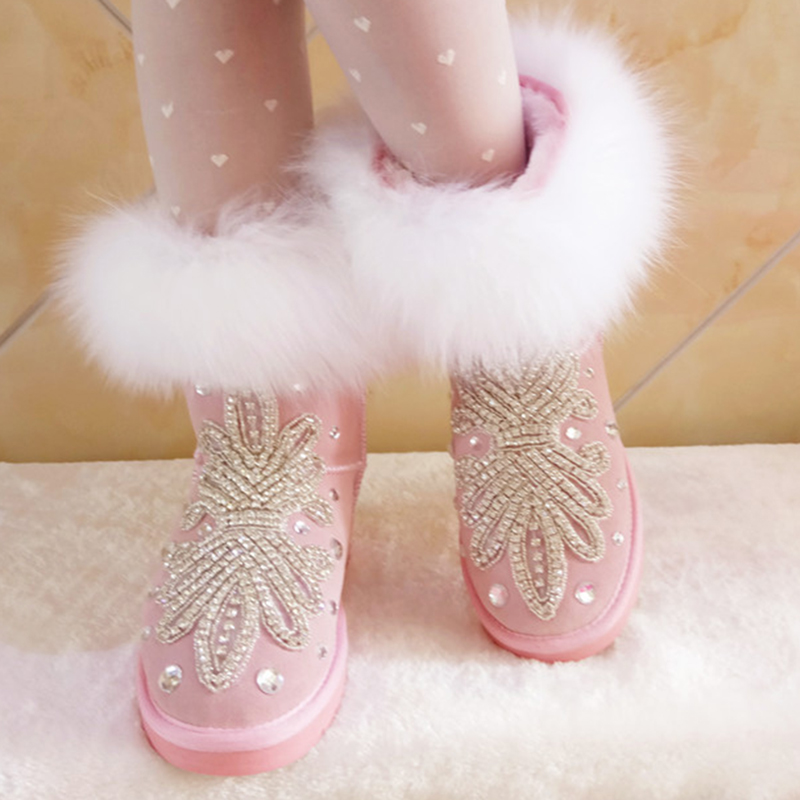 pink Crystal rabbit hair Rhineston Snow Boots Woman Winter Luxury women's bling bling Snow Boots warm fashion Winter Shoes tassels feather crystal rhineston snow boots woman winter luxury women s bling bling snow boots warm shiny fashion winter shoes