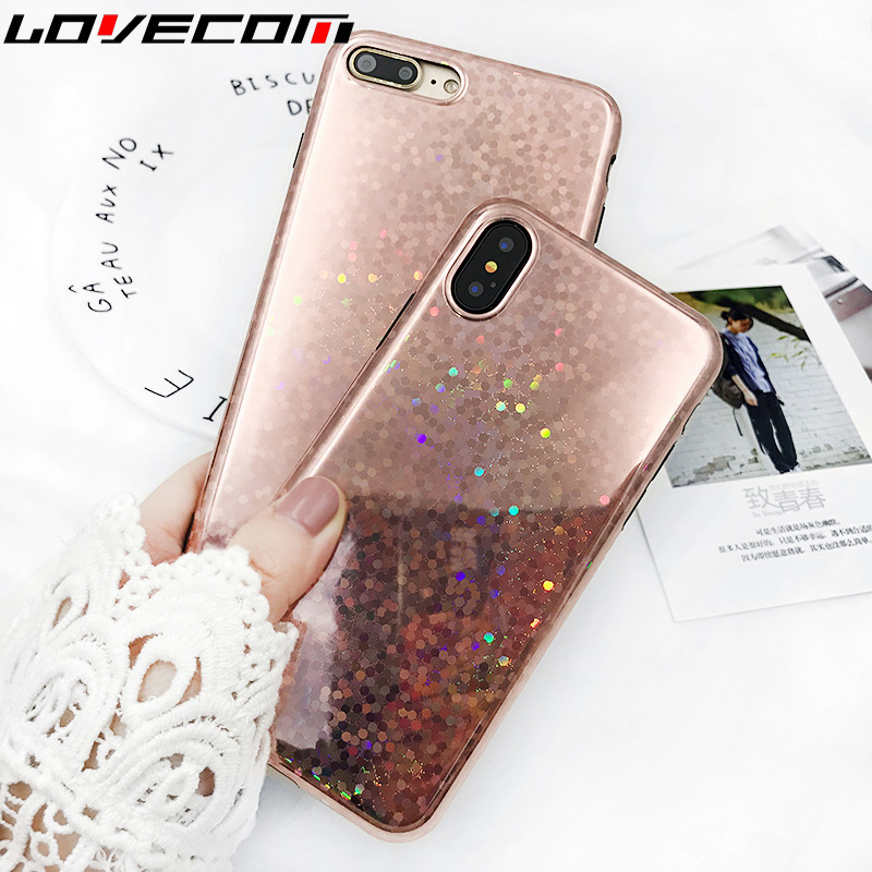 LOVECOM Fashion Rose gold Sequins Phone Case for iPhone 6 6S 7 8 Plus X Shiny Glossy Soft TPU Back Cover Coque
