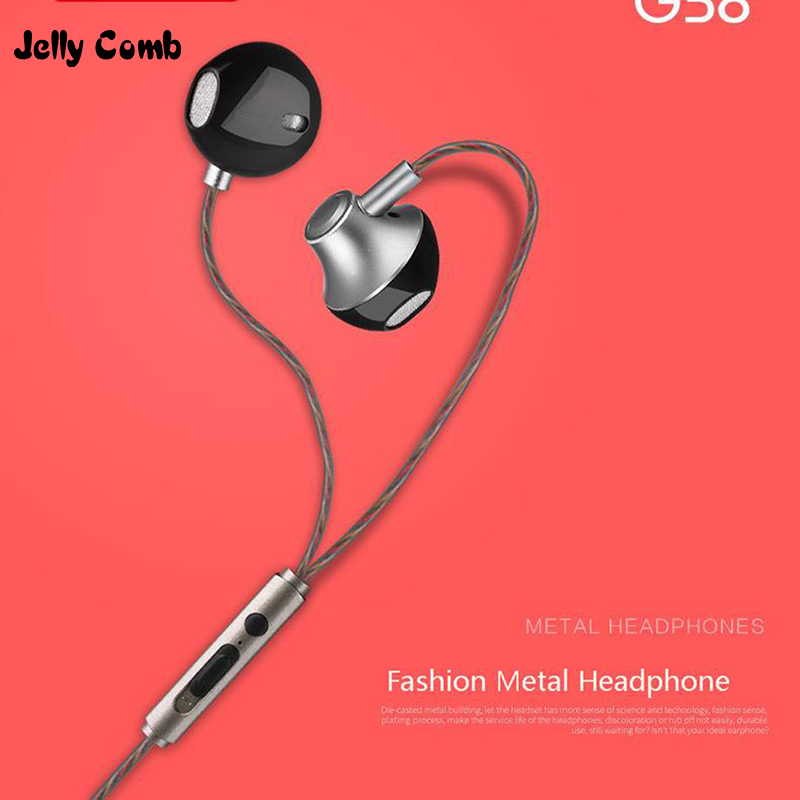 Jelly Comb Wired Earphone Bass Headset 3 5mm In Ear Earphones With Microphone Computer Earbuds For iPhone 5s iPhone 6 Cell phone in Phone Earphones Headphones from Consumer Electronics