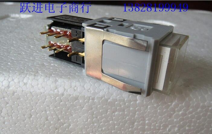 Importer le japon DS TYPE802 avec un interrupteur de verrouillage de LED de lumière forte plaqué or 8 broches 8 pieds 8 pieds bouton-poussoir