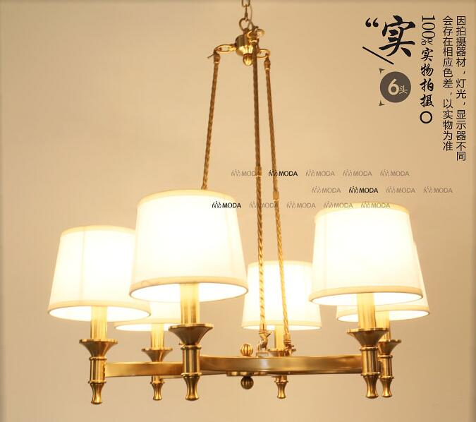 6 / 8 Head Brassy Color American Countryside Copper Pendant Light Cloth Art Cafe Decoration Light Bedroom Lamp Free Shipping