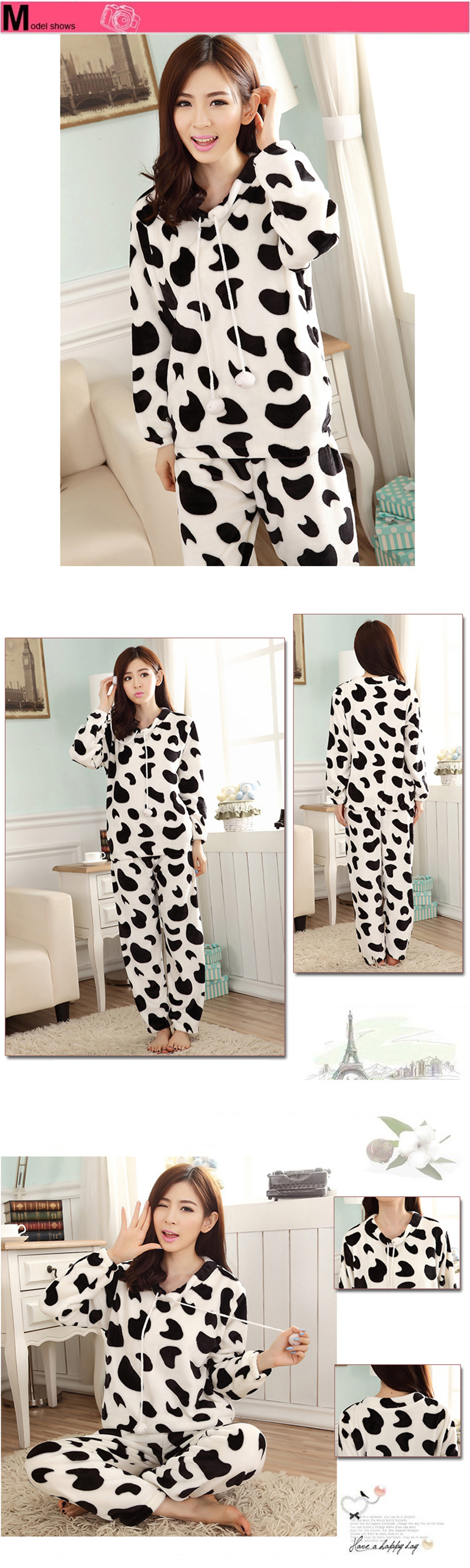JULY'S SONG Cartoon Flannel Women Pajama Sets Autumn and Winter Cute Female Homewear Thick Warm Women Sleepwear 14