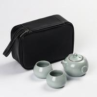 Creative car tea set 1pot 2cups, open kiln Tea pot Travel tea set can accommodate gourd cup portable Teapot Gaiwan