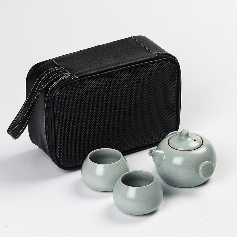Ensemble de thé de voiture créative 1pot 2 tasses, ensemble de thé de voyage de pot de thé de four ouvert peut accueillir la théière portative de tasse de gourde Gaiwan