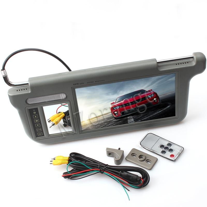MZORANGE 1 sztuka 9 cal TFT LCD samochodu osłony przeciwsłoneczne monitory wyświetlacz w lewo lub w prawo beżowy czarny szary 2- sposoby wejście wideo samochód monitora