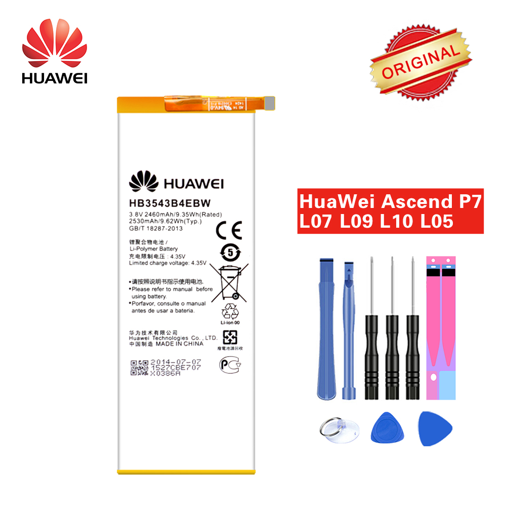 Original Hua Wei Battery HB3543B4EBW for <font><b>Huawei</b></font> Ascend <font><b>P7</b></font> <font><b>L07</b></font> L09 L00 L10 L05 L11 2460mAh Li-ion +Tools Set image