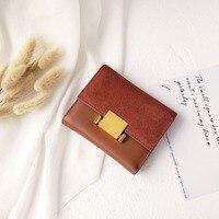 Lady Short Clutch Wallet Solid Letter Fashion Small Female Purse Short Purse Vintage Matte Women Wallet