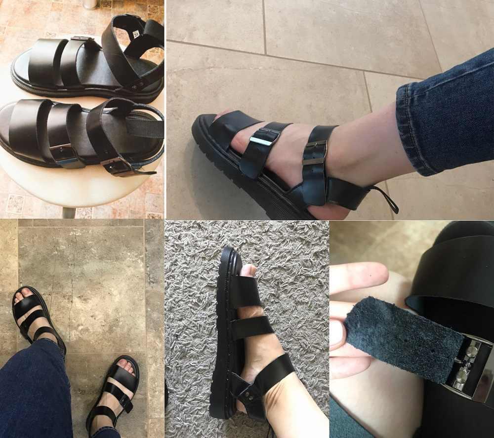 Ayakkabı kadın Sandalet Kadın Hakiki Deri Gladyatör Sandalet Kadın Yaz 2019 Düz Bayanlar Sandalet Kız Platform Sandalet