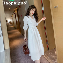 Big Size A-Line Casual White Dress Summer 2019 Corset Slim Midi Bandage Women Solid Dresses Woman Party Night Ukraine Robe