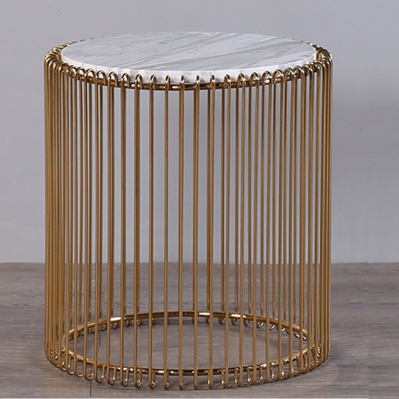 Free shipping u best Living Room Furniture Round Wire Coffee Table with Marble Top,Metal Wire side Coffee Gold Coffee Table