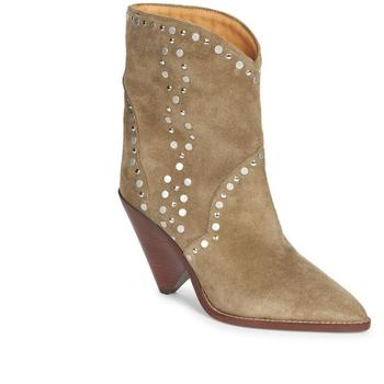 Winter Ankle Boots For Women Light Tan Cow Suede Leather Rivets Biker Punk Booties Spike High Heel Luxury Cowboy Boots Shoes