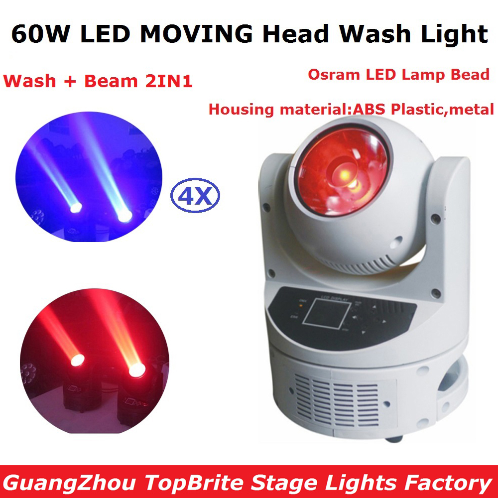 Factory Price 4Pcs/Lot LED Moving Head Wash Lights 60W High Power Osram Lamp LED Beam Moving Head Lights With LCD display 2xlot led moving head spot lights 330w led lamp high power professional led moving head light lcd display 5 35 motorized focus