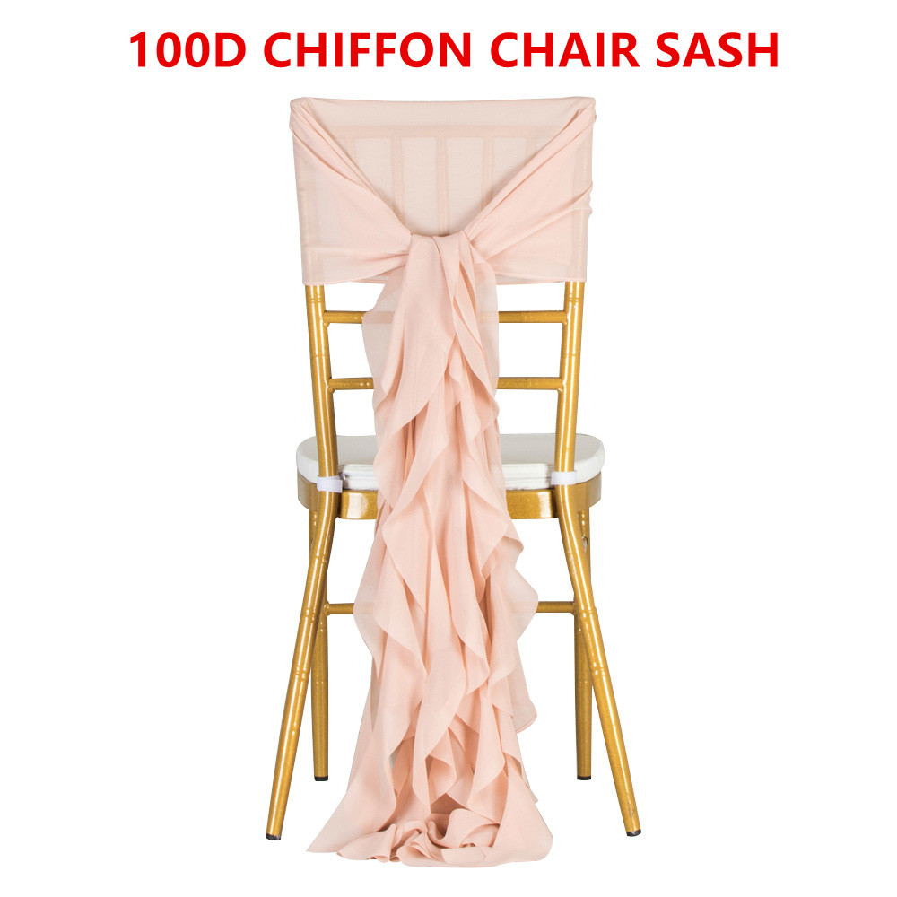 100PCS Decoration Outdoor Party Wedding Chiffon Chair Sash For Chiavari Chair White Pink Tiffany Chair Cap Ruffled Chair Hood