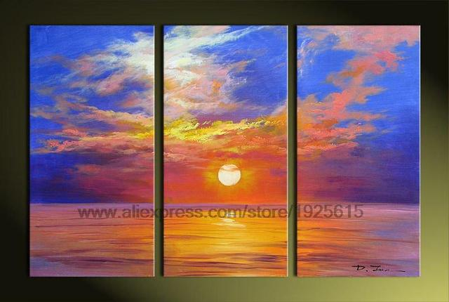 Canvas Paintings Office Background Oil Paintings 3 Pcs Morning Glow Seaside  Sun Abstract Landscape Acrylic Paints