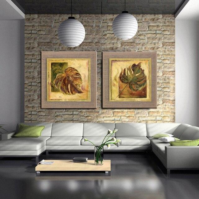Moderne leinen Kunst Ölgemälde blätter Wand malt Bilder für ...