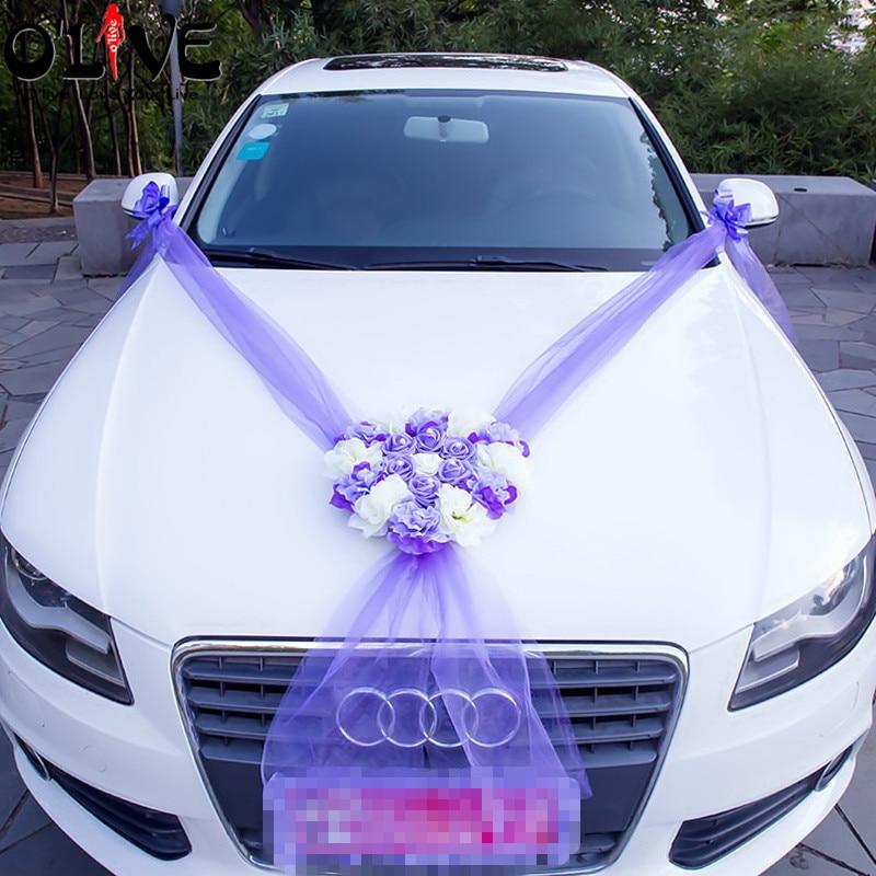 Altar Wedding Cars Timperley: Artificial Flowers Car Decoration Sets Wedding Pompoms