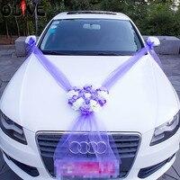 Sztuczne kwiaty dekoracji samochodu zestawy ślubne pompony kwiat jedwabiu pianka pearl wieniec garland diy dodatki ślubne