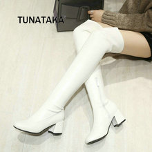 Women Comfortable Low Heel Side Zipper Over The Knee Boots Fashion Square Toe Warm Winter Shoes White Black