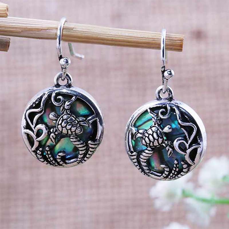Huitan Cute Turtle Earrings Old Vintage Round Shaped Pendant Drop Earrings Traditional Ethnic Accessories For Women Wholesale in Drop Earrings from Jewelry Accessories