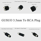 GUSUO High Quality 3.5mm Stereo/Mono Male Female To RCA 2RCA Plug Splitter Adapter Male Jack Audio Plug Y Splitter
