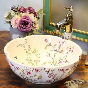 European-style Home Ceramic Counter Top Wash Basin High-quality Household Wash Basin Art Bathroom Wash Sink Ceramic Washbasin jingde ceramic bathroom wash basin art basin ellipse gold purple