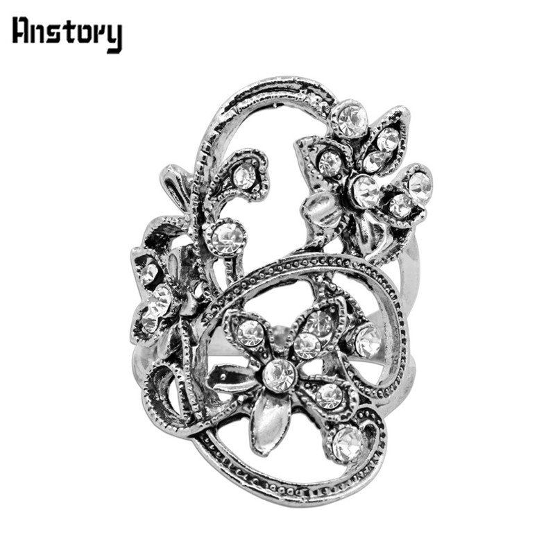 Plant Flower Crystal Rings For Women Vintage Look Antique Silver Plated Party Fashion Jewelry TR621