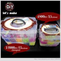 Hãy Làm cho Loom Bands Refills Loom Rubber Bands Đối 3 Lớp Hộp lớn Set DIY Charm Bracelets 12500 cái/4800 cái Hottest Vòng Tay