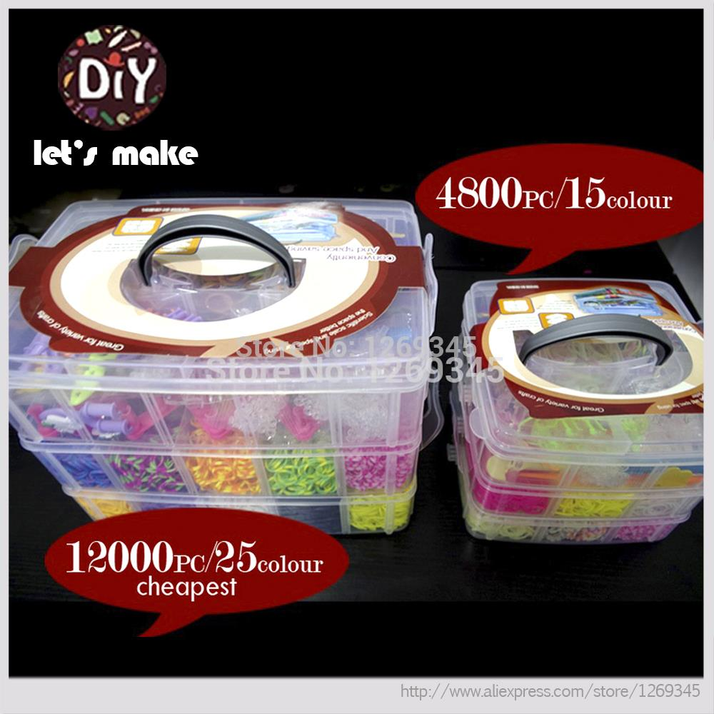 Let's Make Loom Bands Refills Loom Rubber Bands For 3 Layer Big Box Set DIY Charm Bracelets 12500 pcs/4800 pc Hottest Bracelets rubber bands to weave bracelet 4200pcs gum diy charm for plaiting eavingel wastic band boy girl hair accessories machine set