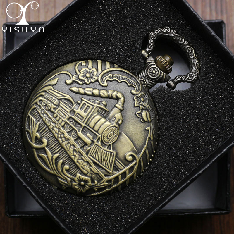 Antique Bronze Train Front Locomotive Engine Necklace Pendant Quartz Analog Pocket Watch with Chain for Men + Gift Box men s antique bronze retro vintage dad pocket watch quartz with chain gift promotion new arrivals