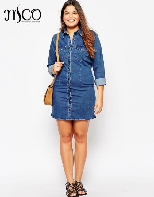 1e4bd082935785 Brand European 2016 Denim Shirt Dress Casual Winter Street Jacket Style  Women Jeans Dresses High Quality Plus Size 5xl 6xl 7xl