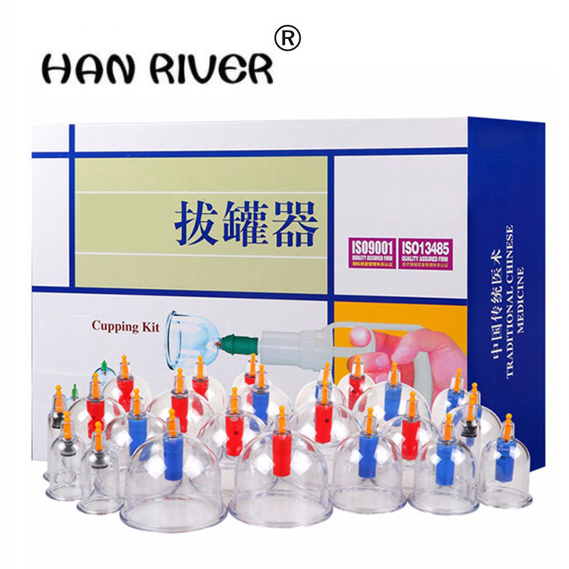 HANRIVER Chinese Vacuum Cupping Kit 24Pcs Cupping Cans Chinese Acupuncture Massage Suction Cup Health Massage hot selling