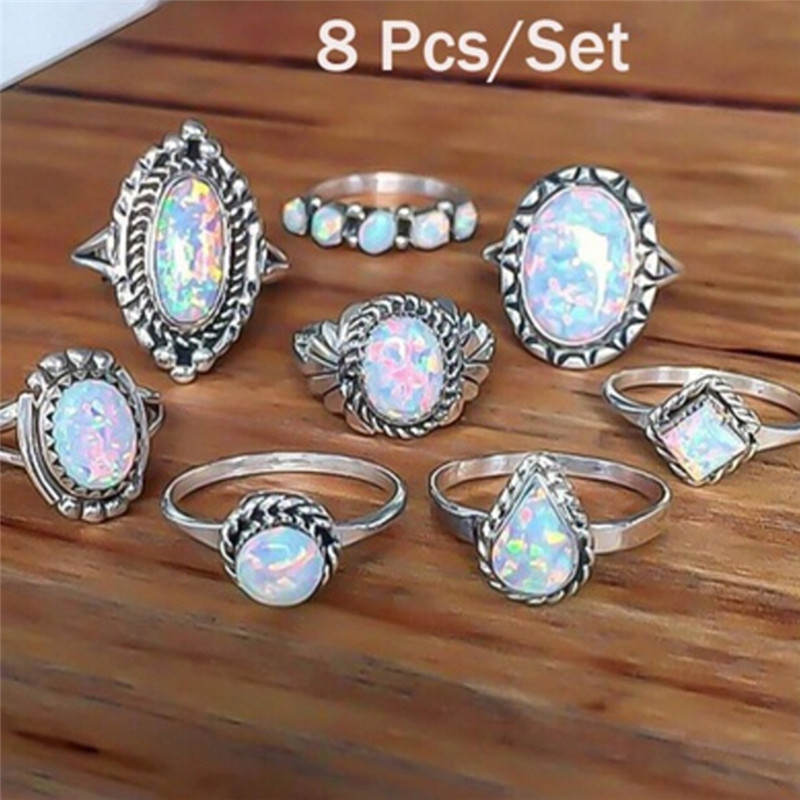 5d3bb0d6d6b1f US $1.75 21% OFF|New 8PCS/Set Natural Fire Opal Stone Solid Silver 925 Thin  Band Rings Women White Color 100% Real 925 Sterling Silver Jewelry-in ...