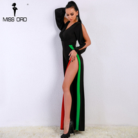 Missord 2018 Sexy Spring And Summer Long Sleeve Two Split Green Red Striped V Neck Elegant