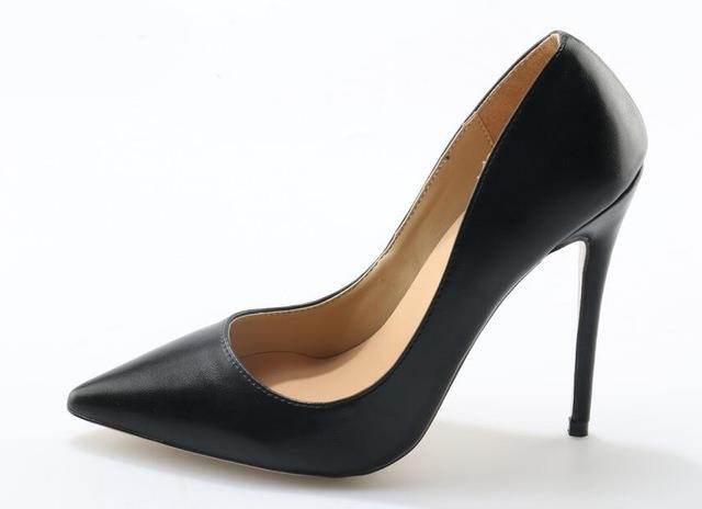 Black Matte Leather Pointed Toe High Heel Pumps For Women 12CM Slip on Party Dress Shoes Formal Office Lady Shoes D