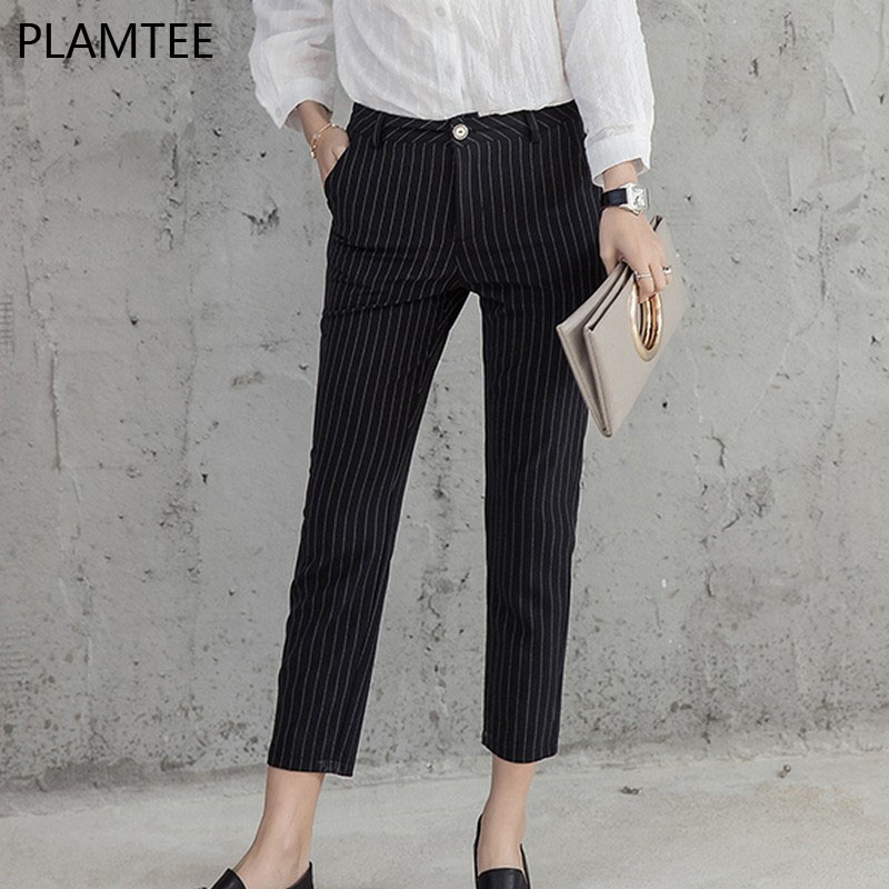 PLAMTEE 2017 Women Formal Striped Pants Simple Ankle Length Pencil Pants Slim Thin Gray/Black ...