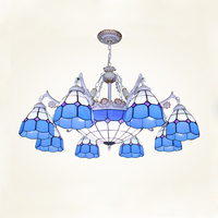 bohemian 8 light tiffany chandelier hanging light fixtures warehouse stained blue glass shade hanging lighting collections