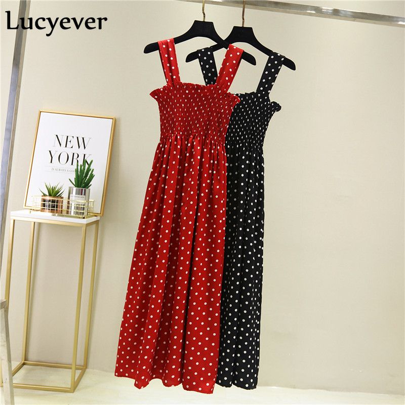 Lucyever <font><b>Chiffon</b></font> Summer <font><b>Women</b></font> <font><b>Dress</b></font> <font><b>Fashion</b></font> High Elastic Waist Dot Print <font><b>Sexy</b></font> Spaghetti Strap Mid-Calf <font><b>Elegant</b></font> Party Vestidos image