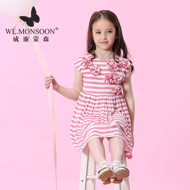Fille robe enfants filles robe d'été nouvelle robe enfants coréen rayé fleur princesse robe marée