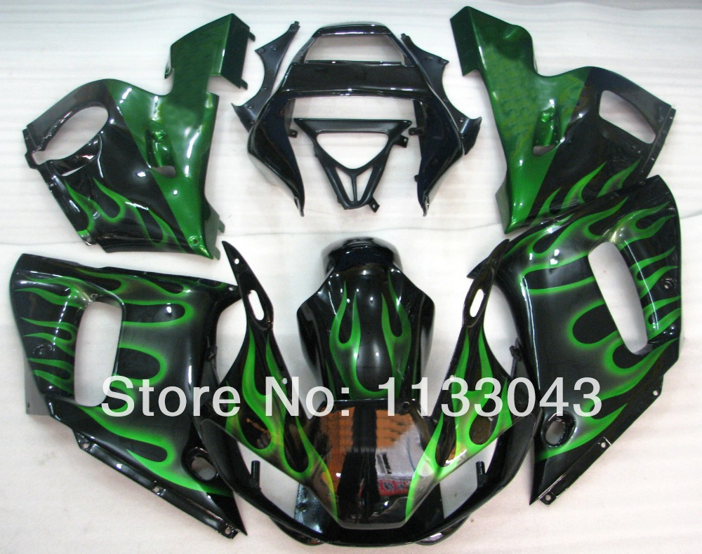 7gifts+ Green flame black Fairing kit for Yamaha YZF-R6 98-02 YZF R6 98 99 00 01 02 YZF 600 R6 1998-2002 fairings #44SV