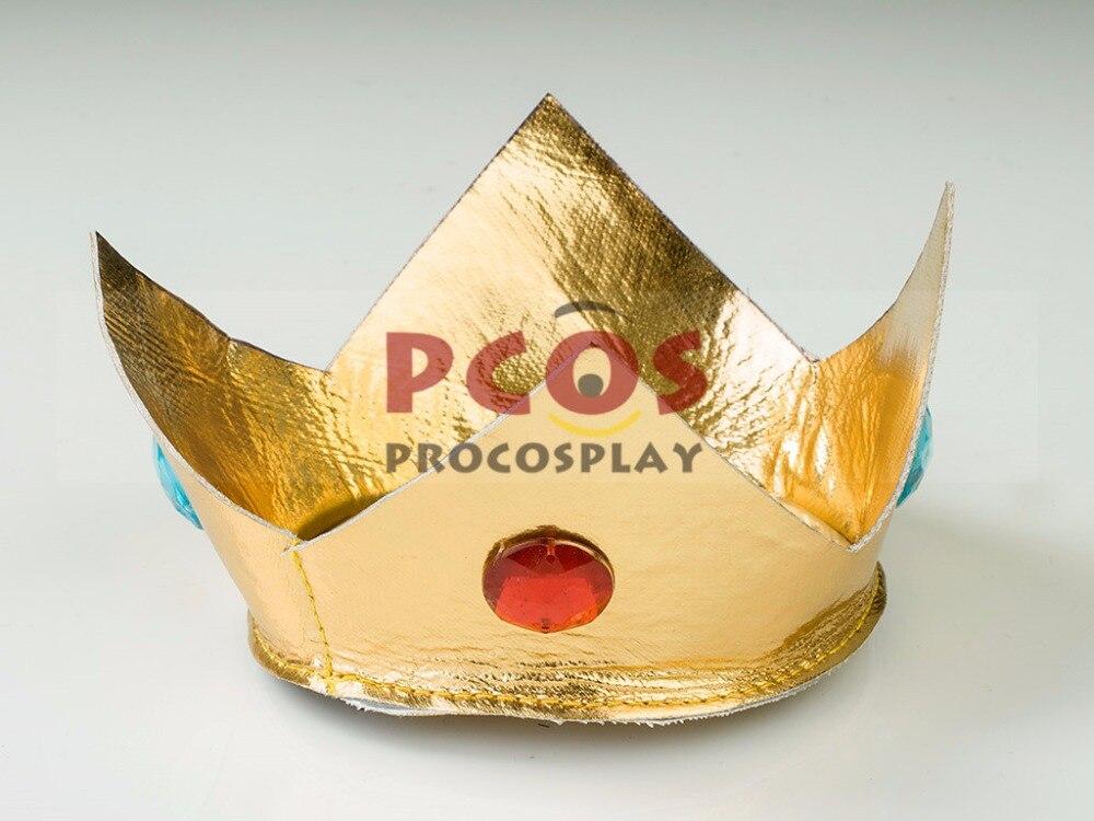 Super Mario Bros Princess Peach Pink Cosplay Costume /& Crown mp003319