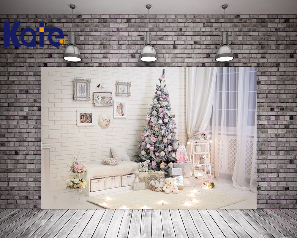 Kate Indoor White Christmas Photography Background 10ft With Tree Window Photography Background Bokeh For Children Photo Studio kate christmas backdrop photography brick wall white bear tree box background white floor for children photo studio background